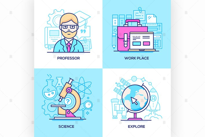 Thumbnail for Business and online education - illustrations