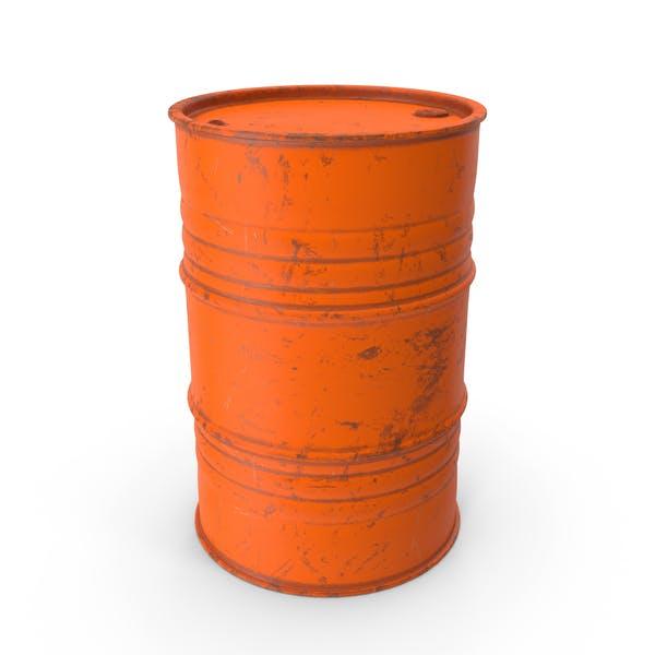 Metal Barrel Painted Worn Orange