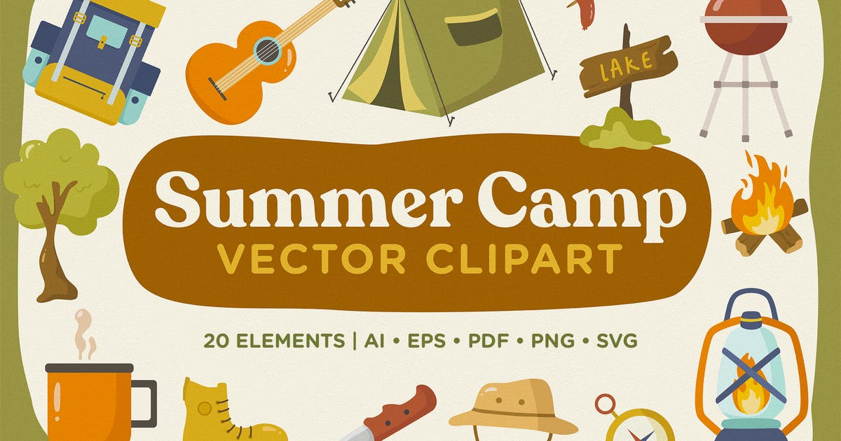 Download Summer Camp Vector Clipart Pack by telllu