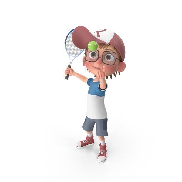 Cartoon Boy Harry Playing Tennis