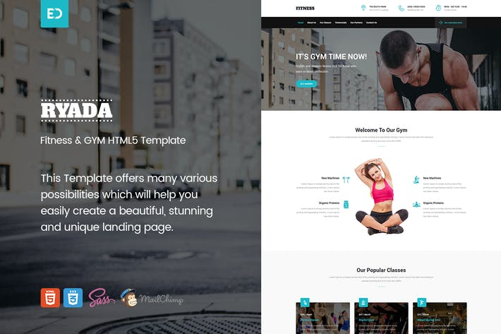 Thumbnail for Ryada - Fitness & GYM HTML Landing Page Template