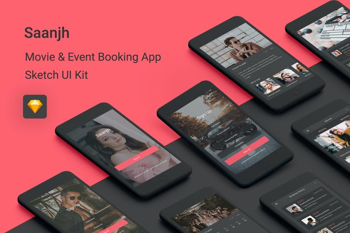 Thumbnail for Saanjh - Movie & Event Booking UI Kit for Sketch