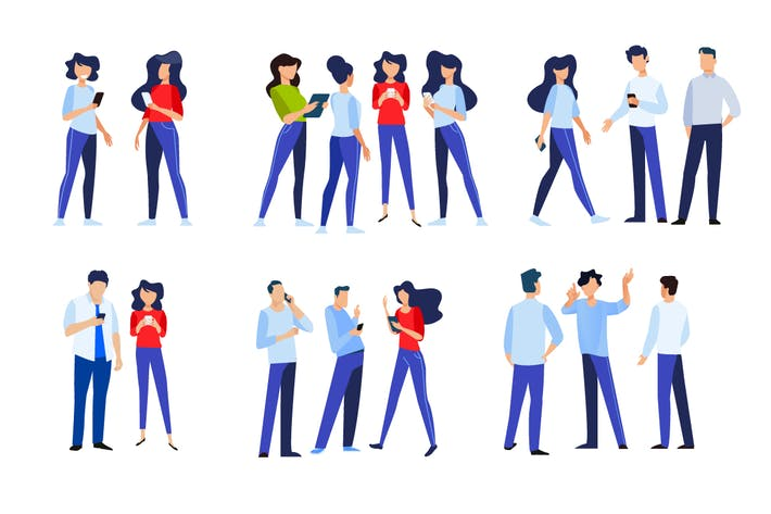 Flat Design Concepts of People in Different Poses