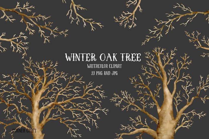 Thumbnail for Watercolor Clip Art Winter Oak Tree