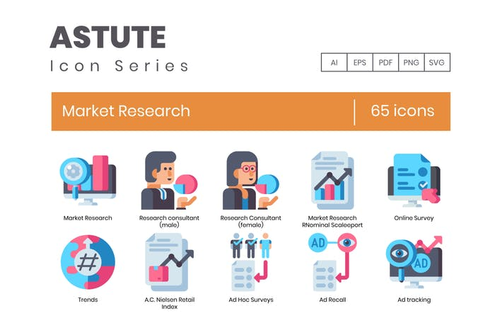 Thumbnail for 62 Market Research Flat Icons