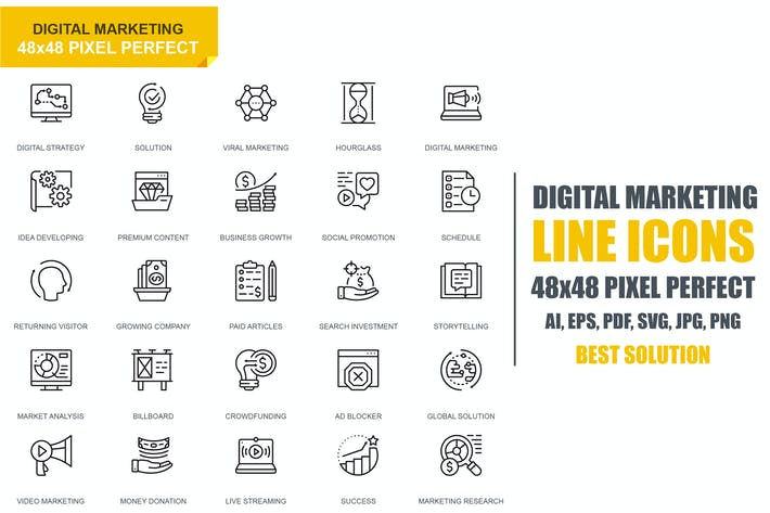 Cover Image For Simple Set Digital Marketing Line Icons