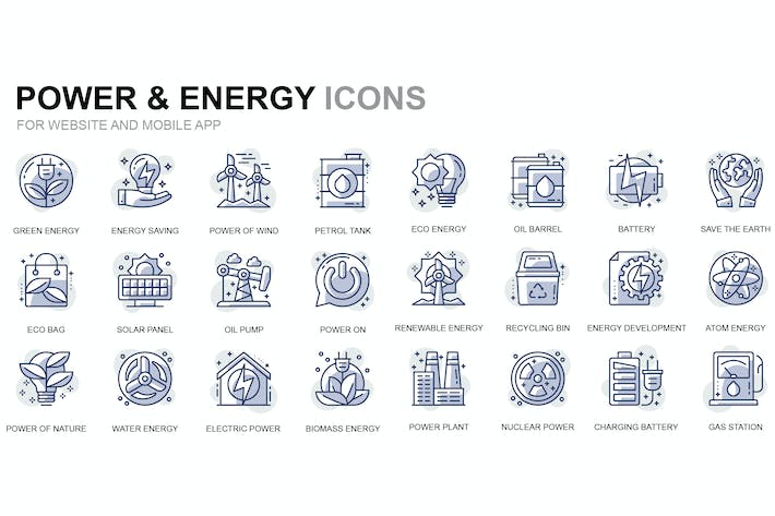 Thumbnail for Power Industry Thin Line Icons