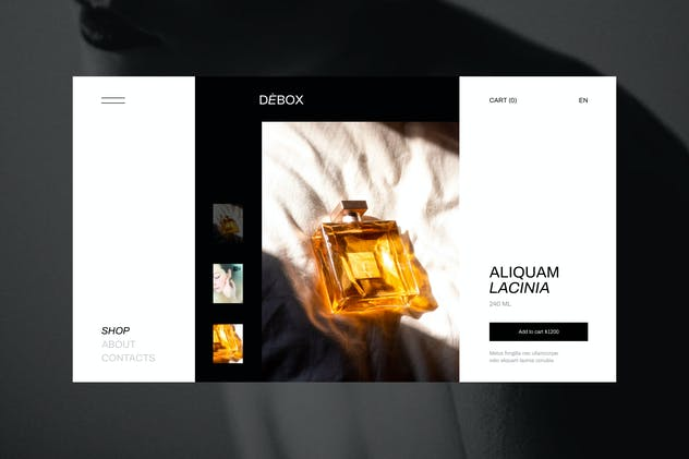 Debox – Product card for a perfume boutique