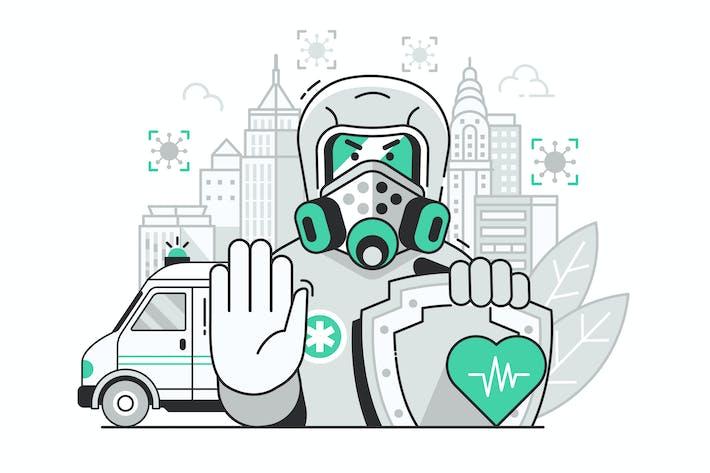 Thumbnail for City Closed on Virus Quarantine Biohazard Concept