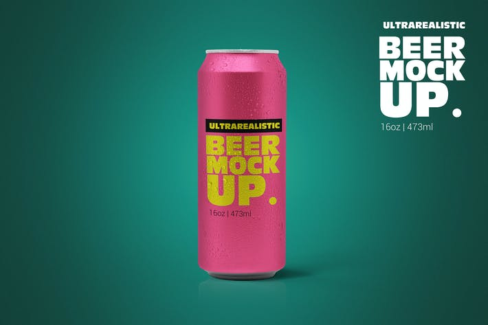 Thumbnail for 16oz Clean Beer Can Mockup