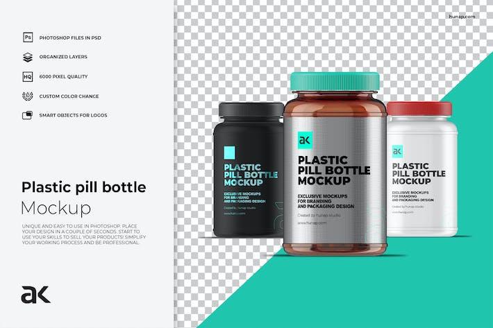 Thumbnail for Plastic Pill Jar Bottle Mockup