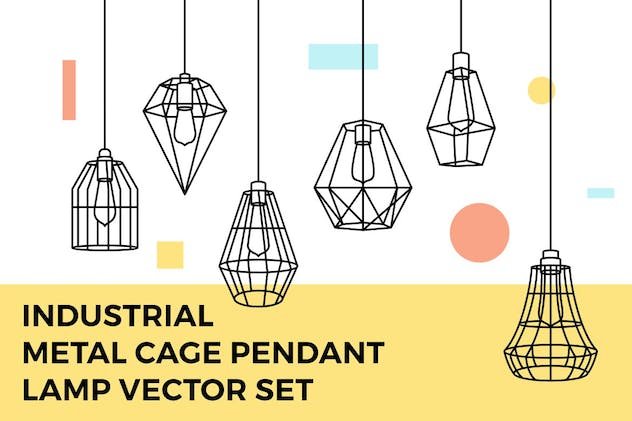 Industrial Metal Cage Pendant Lamp Vector Set