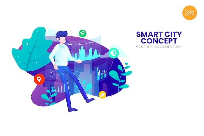 Cover Image For Smart City Concept Vector Illustration Concept