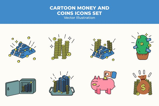 Cartoon Money and Coins Icons Set
