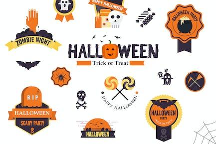 Hallowen flat designed Badges
