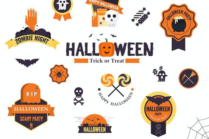 Thumbnail for Hallowen flat designed Badges