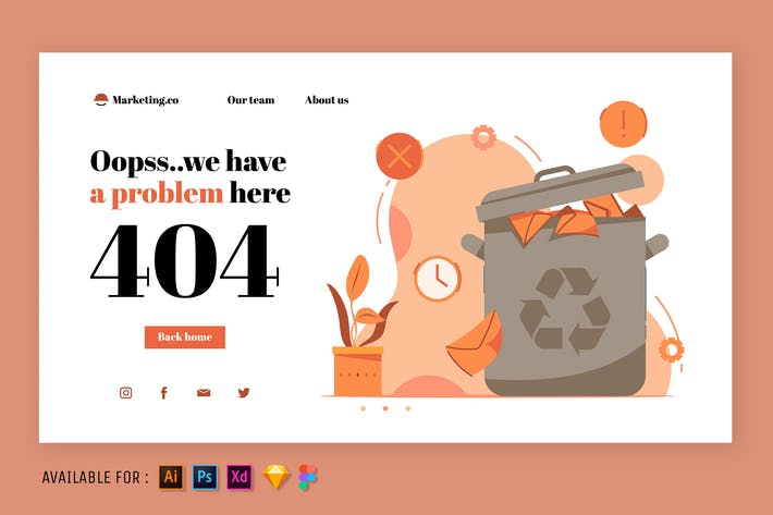404 Seiten Erorr - Web-Illustration