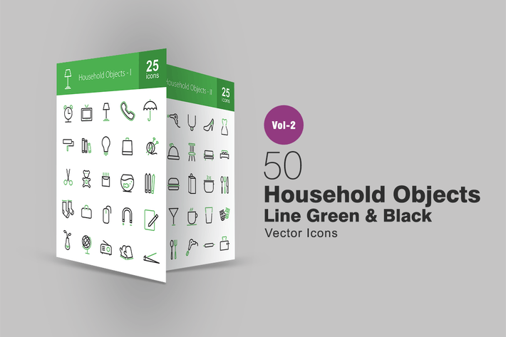 50 Household Objects Line Green & Black Icons