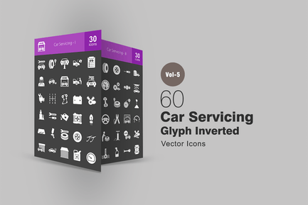 60 Car Servicing Glyph Inverted Icons
