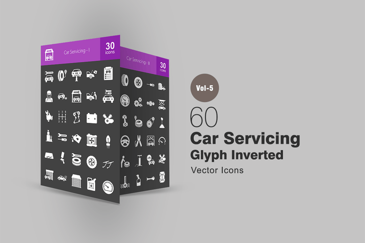 Thumbnail for 60 Car Servicing Glyph Inverted Icons