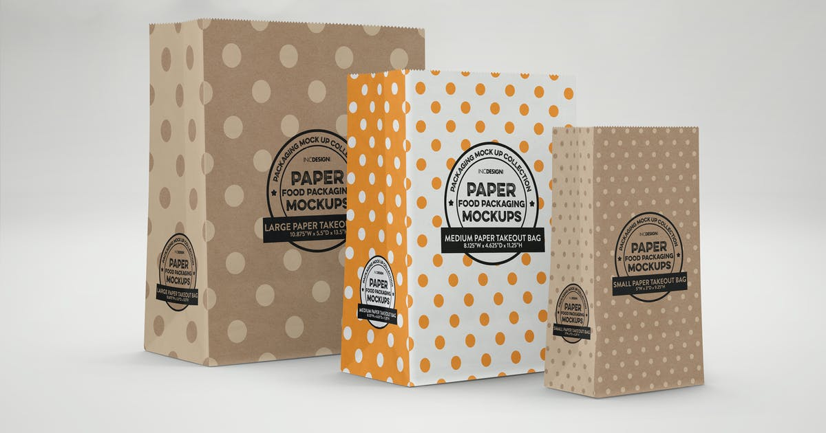 Download Takeout Paper Bags Packaging Mockup by ina717