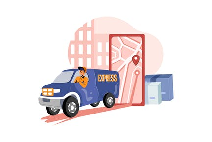 Delivery Person following address route in maps