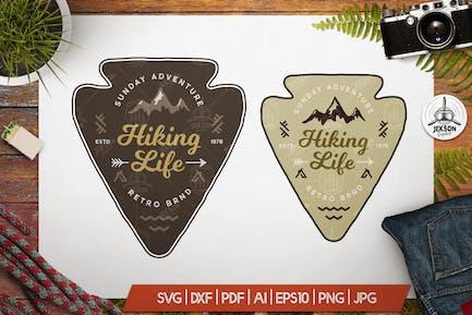 Hiking Life Badge / Vintage Travel Logo Patch SVG