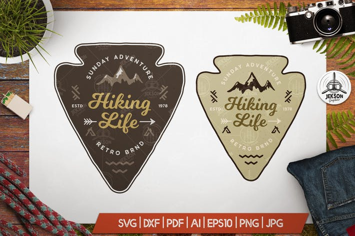 Thumbnail for Hiking Life Badge / Vintage Travel Logo Patch SVG