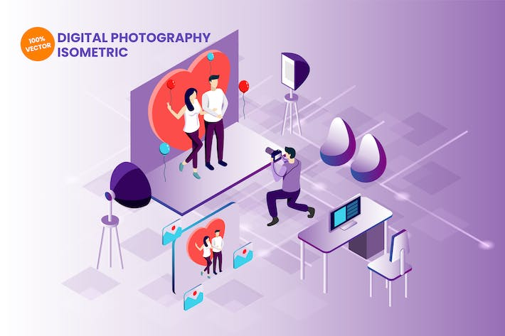 Thumbnail for Isometric Digital Photography Vector Illustration