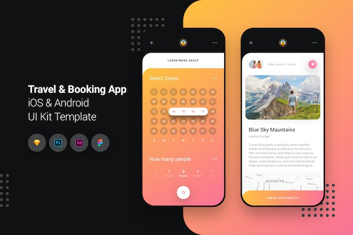 Thumbnail for Travel & Booking App iOS & Android UI Kit Template