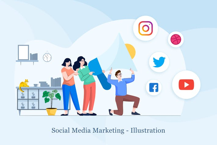 Cover Image For Social Media Marketing Illustration