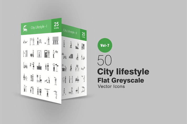 Cover Image For 50 City Lifestyle Flat Greyscale Icons