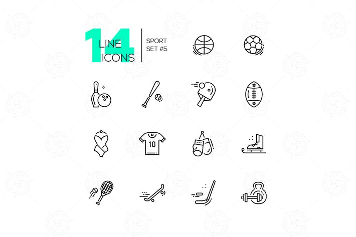 Thumbnail for Kinds of Sport - line icons set