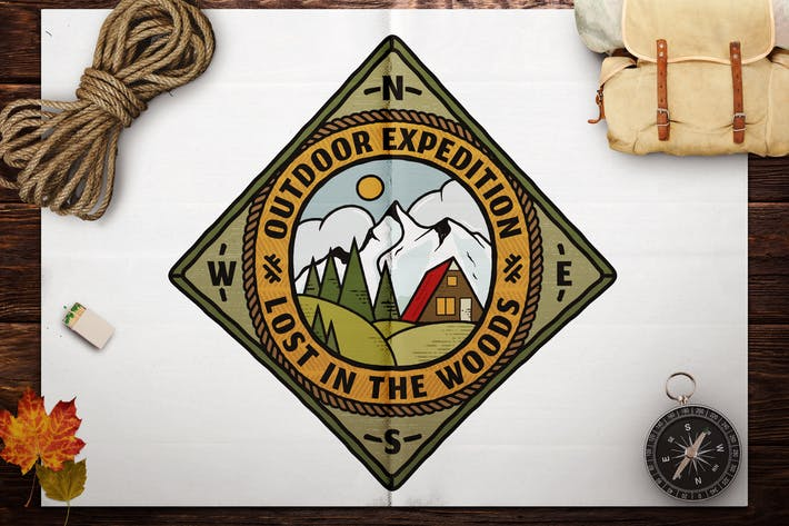 Thumbnail for Retro Travel Emblem / Vintage Camping Logo / Patch