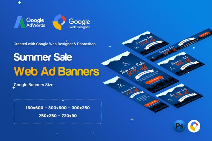 Cover Image For Summer Sale Banners Ad - GWD & PSD