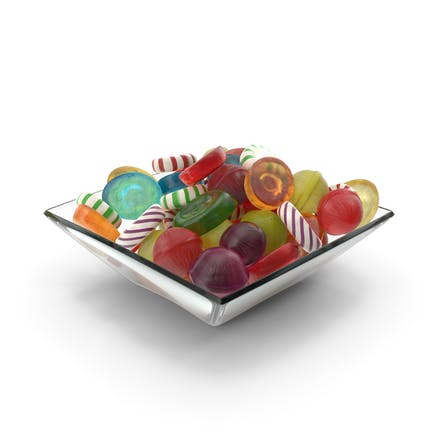 Square Bowl with Mixed Hard Candy