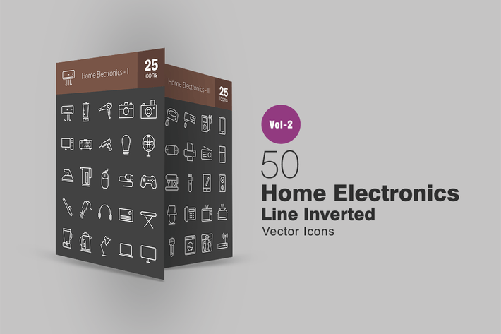 Thumbnail for 50 Home Electronics Line Inverted Icons