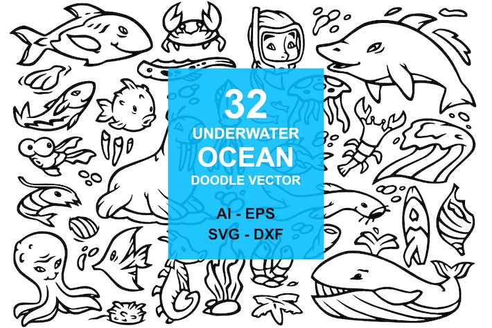 Thumbnail for 32 Underwater Ocean Doodles