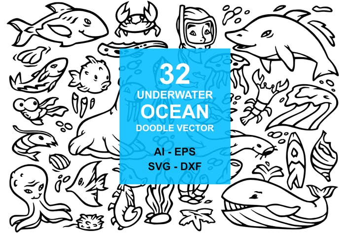 Cover Image For 32 Underwater Ocean Doodles