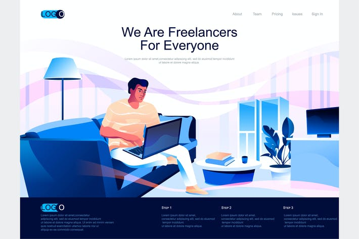 Thumbnail for Freelancer Work Isometric Landing Page Template