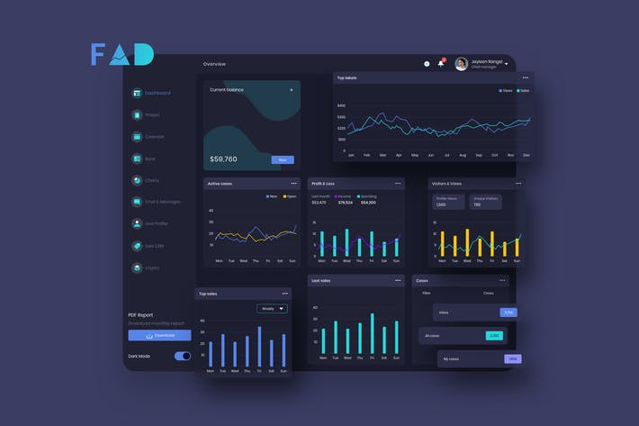 Thumbnail for FAD Finance Dashboard Ui Dark - P