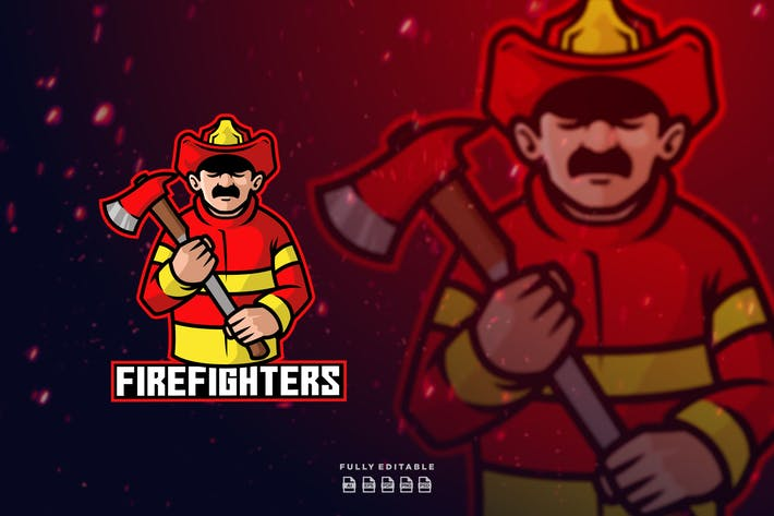 Firefighters Mascot Logo