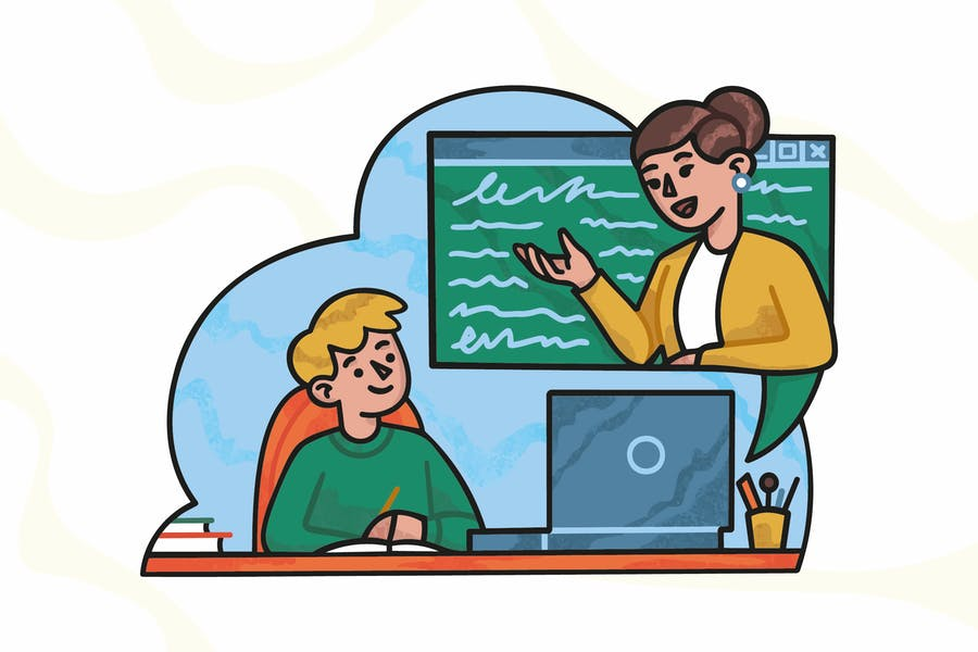Educación en línea para un niño