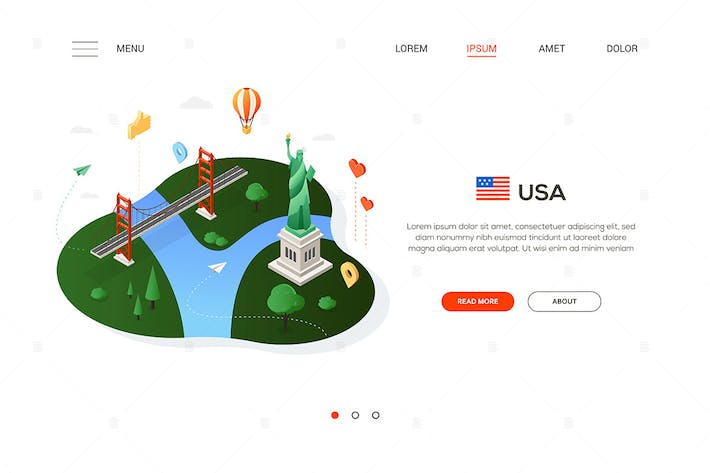 Thumbnail for Travel to the USA - isometric banner illustration