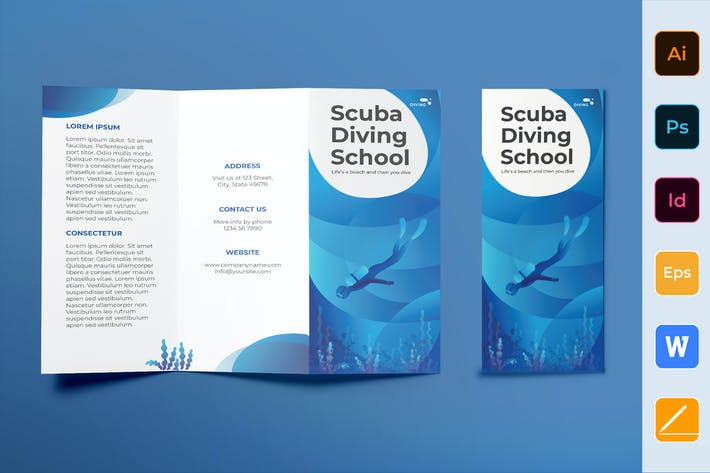 Thumbnail for Diving School Brochure Trifold