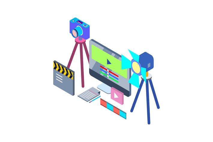 Thumbnail for Video Production Isometric Illustration