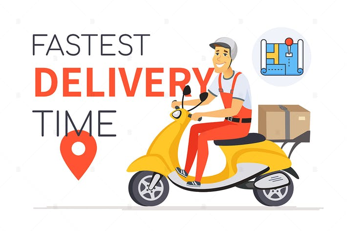 Thumbnail for Fastest delivery time - cartoon character banner