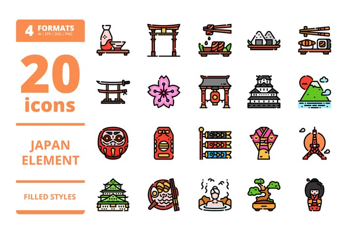 Thumbnail for Japan Filled icons packs