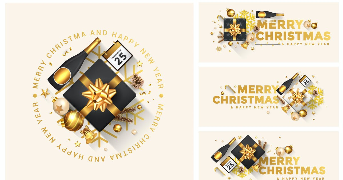 Merry Christmas and Happy New Year greeting card by graphics4u