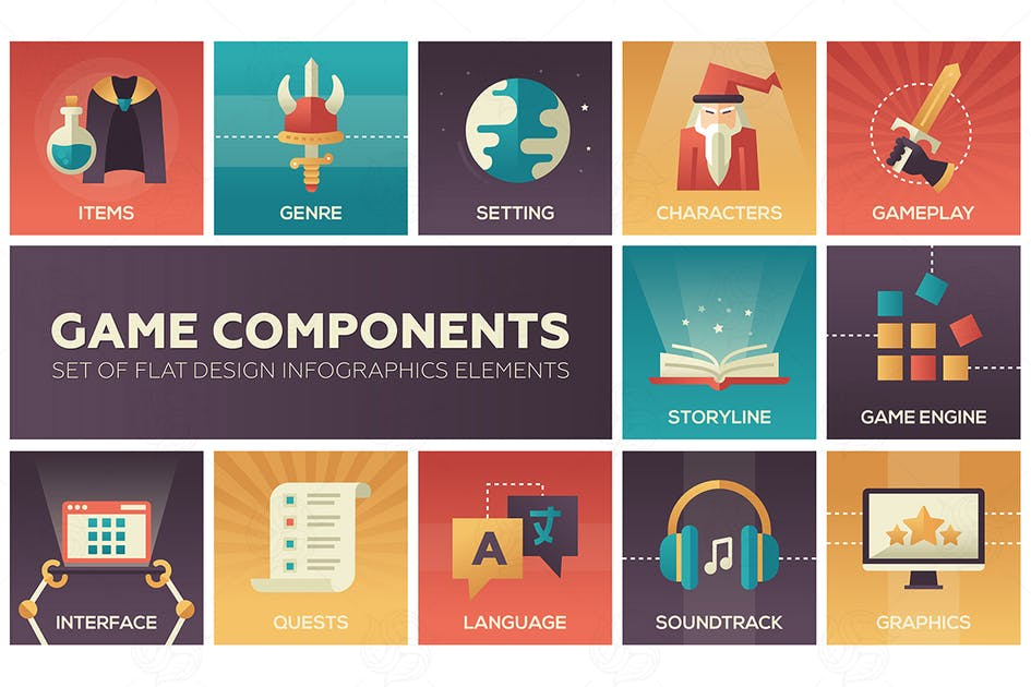 Download Game Components - modern vector flat design icons by BoykoPictures